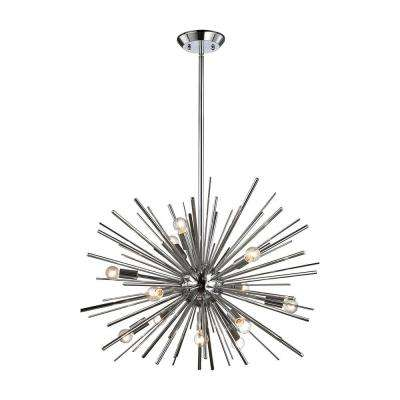 Starburst 12-Light Chrome Pendant