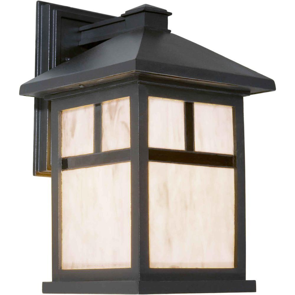 Talista 1-Light Outdoor Black Wall Lantern with Honey Glass