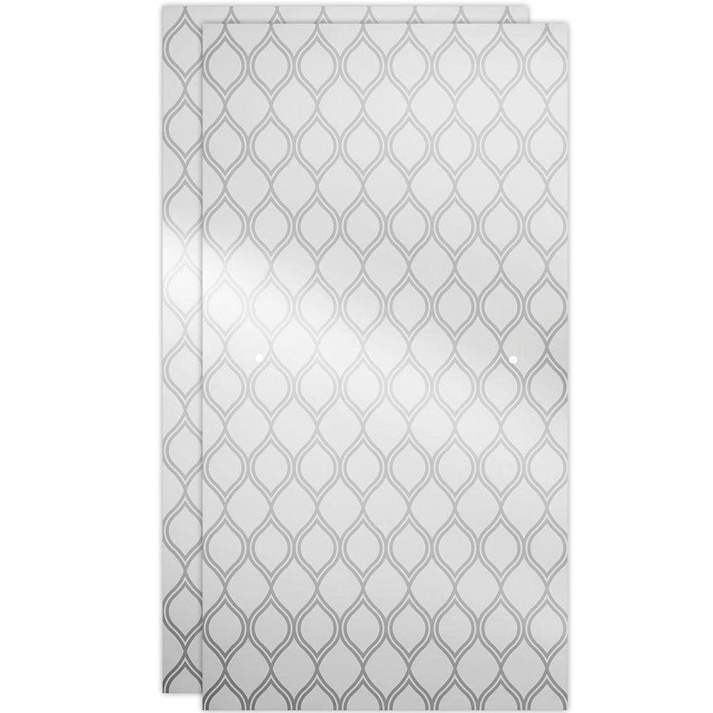 60 in. Sliding Shower Door Glass Panels in Ojo (1-Pair)