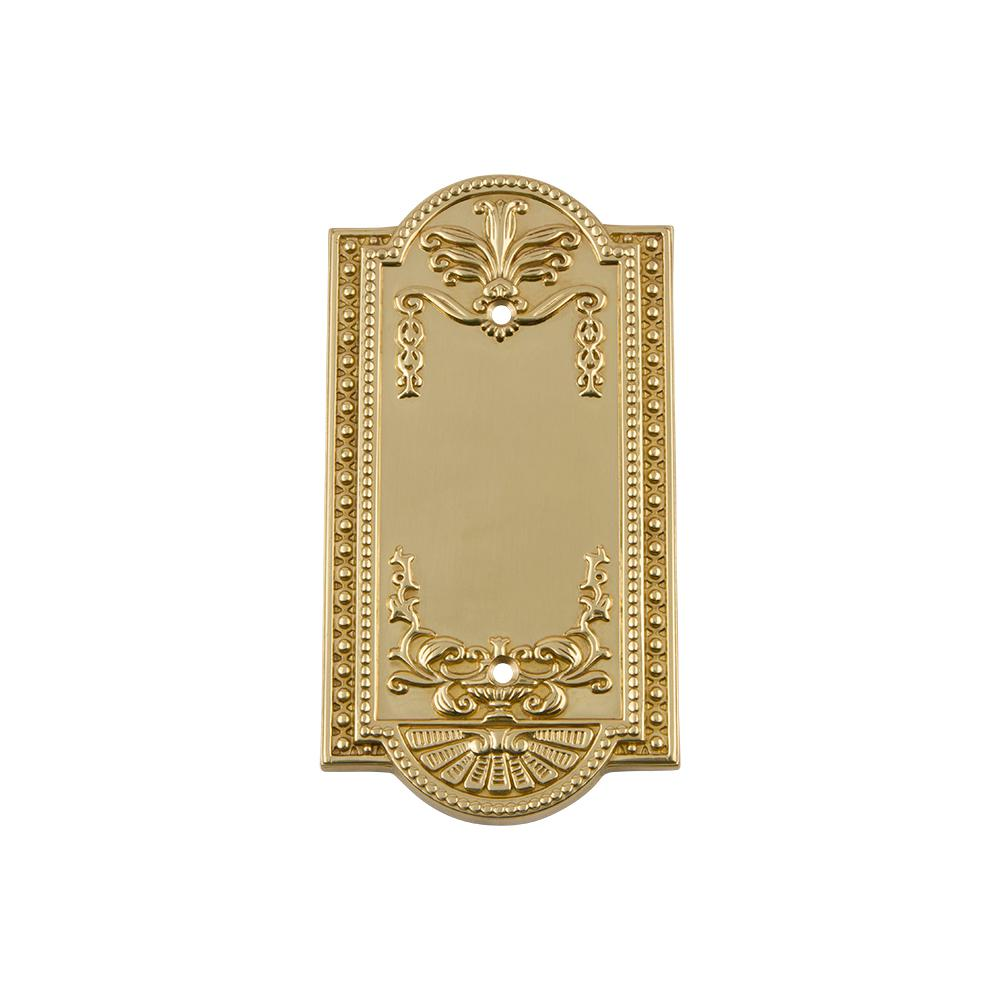 Meadows Switch Plate with Blank Cover in Polished Brass