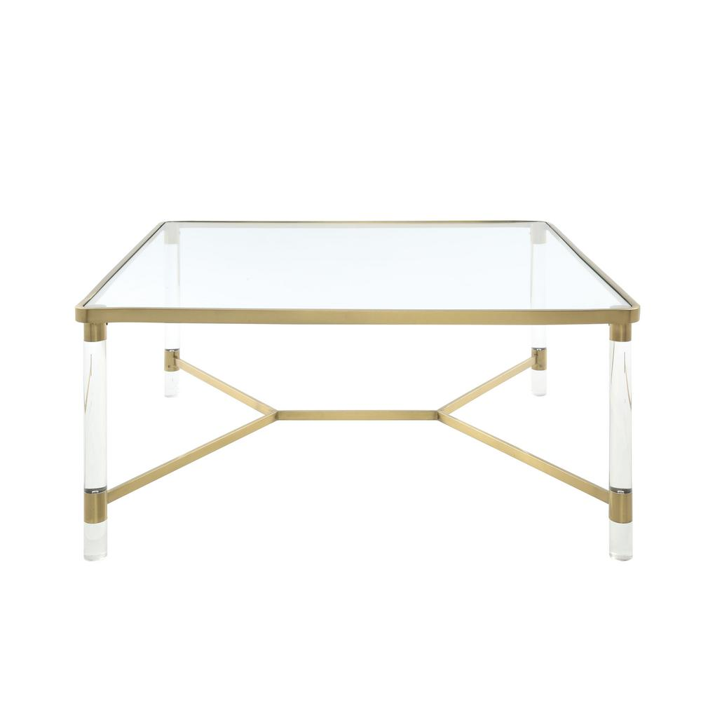 Acme Furniture Penstemon Clear Acrylic, Gold Stainless Steel And Clear Glass  Coffee Table