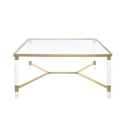 Penstemon Clear Acrylic, Gold Stainless Steel and Clear Glass Coffee Table