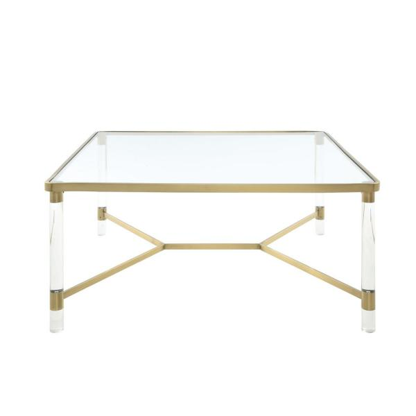 Acme Furniture Penstemon Clear Acrylic, Gold Stainless Steel and Clear Glass