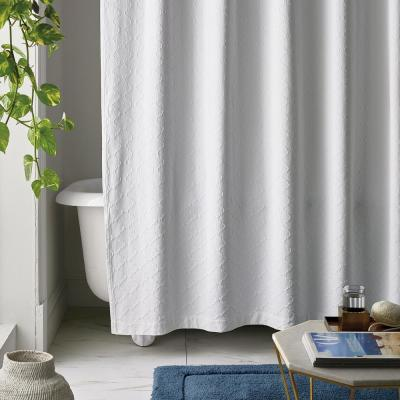 Shoreline Matelasse 72 in. White Cotton Shower Curtain