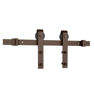 Oil Rubbed Bronze Solid Steel Sliding Rolling Barn Door Hardware Kit for Single Wood Doors with Routed Floor Guide