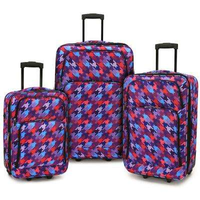 Houndtooth 3-Piece Expandable Rolling Luggage Set