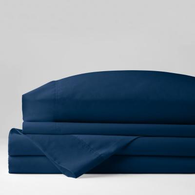 Wrinkle-Free 4-Piece Blue Sapphire Solid 300 Thread Count Cotton Sateen King Sheet Set