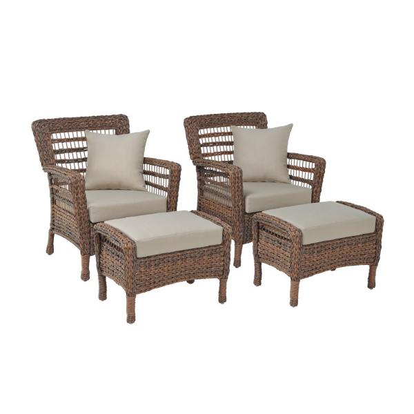 W Unlimited Modern Concept 4 Piece Faux, Woven Resin Wicker Patio Furniture