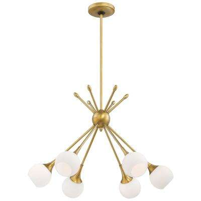 Pontil 6-Light Honey Gold Chandelier with Etched Opal Glass Shade