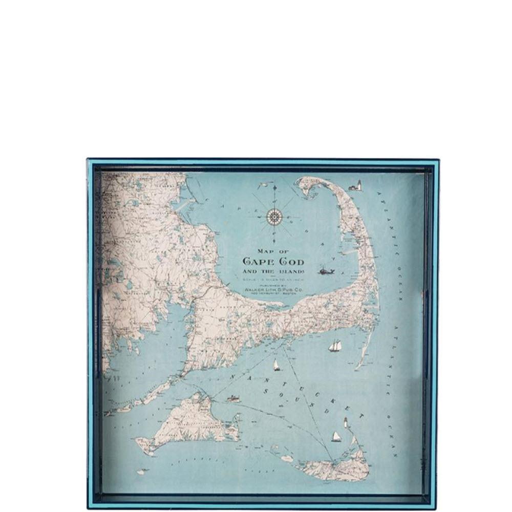 Vintage Maps Cape Cod Square Tray