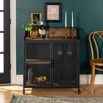 33 in. Rustic Oak Industrial Bar Cabinet with Mesh