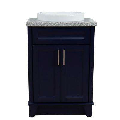 25 in. W x 22 in. D Single Bath Vanity in Blue with Granite Vanity Top in Gray with White Round Basin