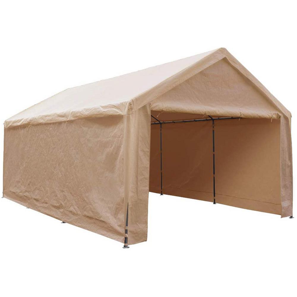12 ft. x 20 ft. x 9.1 ft. Beige Roof Steel Carport