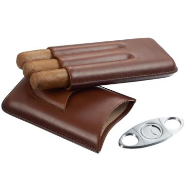 Legend Brown Genuine Leather Cigar Case with Cutter