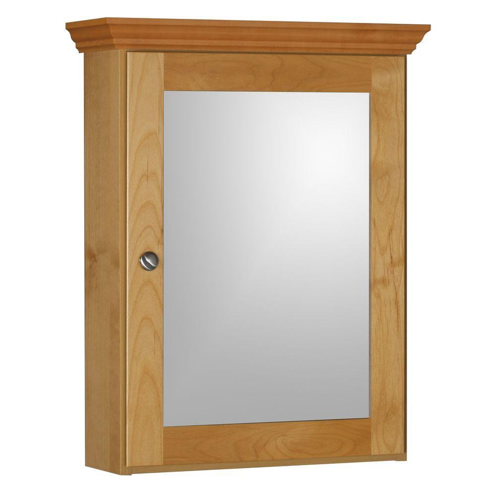 Shaker 19 in. W x 27 in. H x 6-1/2 in. D Framed Surface-Mount Bathroom Medicine Cabinet in Natural Alder
