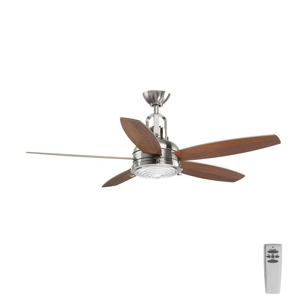 Progress Lighting Kudos 52 In Led Indoor Brushed Nickel Ceiling Fan With Light Kit And