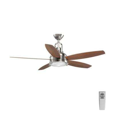 Kudos 52 in. LED Indoor Brushed Nickel Ceiling Fan with Light Kit and Remote