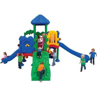 Discovery Center Commercial Playground 5 Deck with Roof Ground Spike Mounting