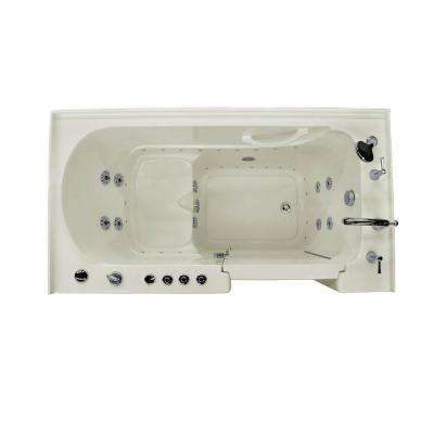 HD Series 60 in. Right Drain Quick Fill Walk-In Whirlpool and Air Bath Tub with Powered Fast Drain in Biscuit