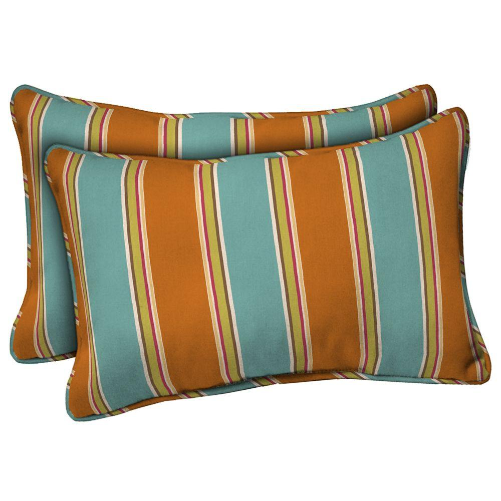 Hampton Bay Negril Stripe Rectangular Outdoor Throw Pillow (2-Pack)-DISCONTINUED