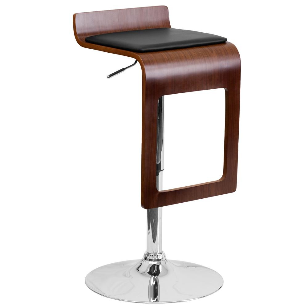 Bentwood Adjustable Height Black and Walnut Cushioned Bar Stool