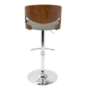 2 Lumisource Pino Adjule Height Walnut And Grey Fabric Bar Stool