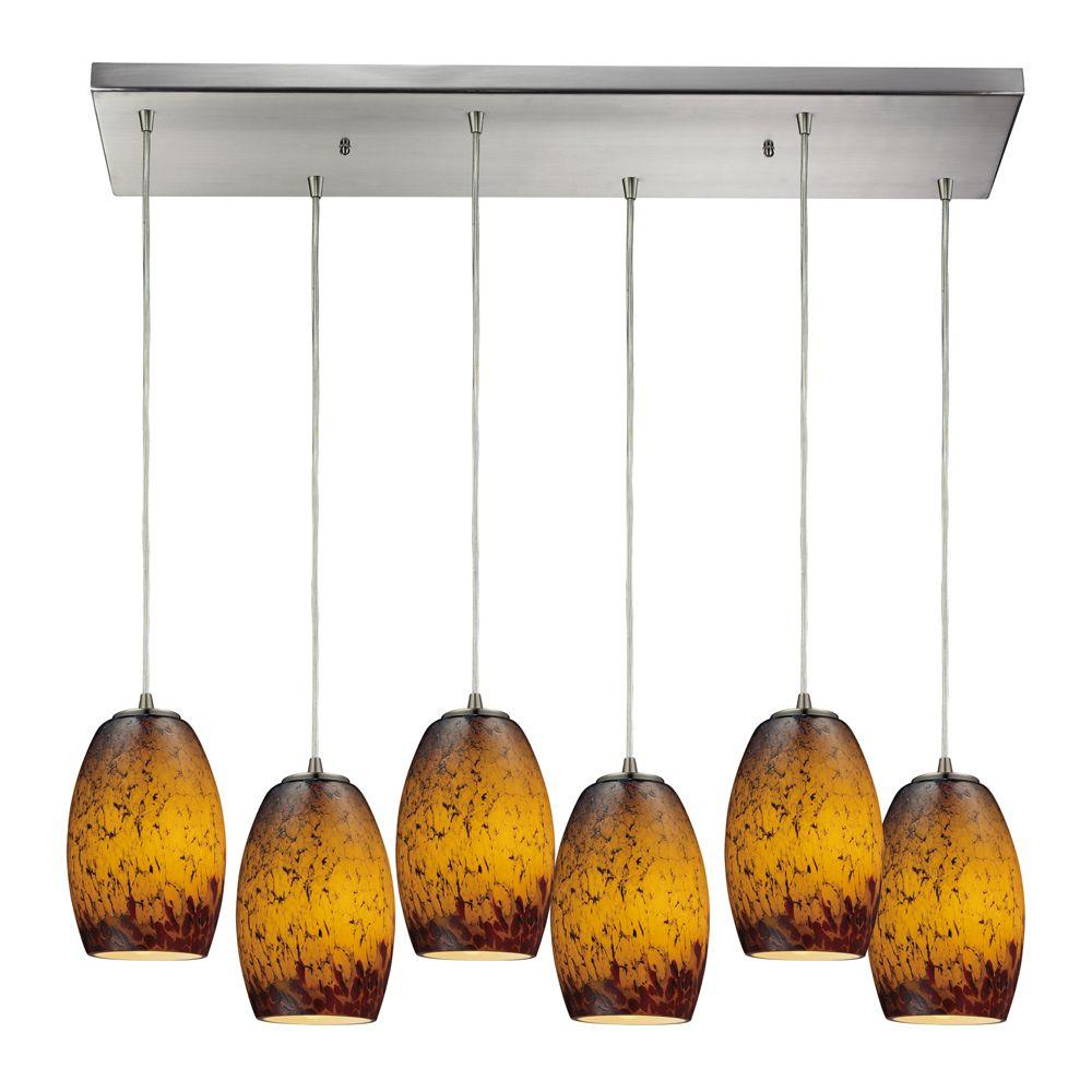 Titan Lighting Maui 6-Light Satin Nickel Ceiling Mount Pendant
