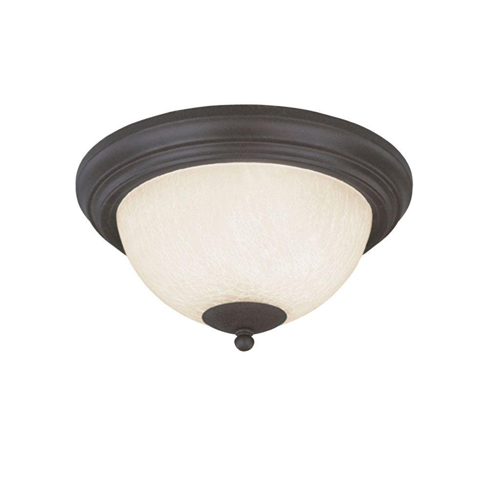2-Light Ceiling Fixture Antique Brick Interior Flush-Mount with Frosted Crackle