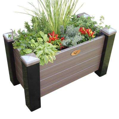 18 in. x 36 in. x 20 in. Maintenance Free Black and Walnut Vinyl Planter Box