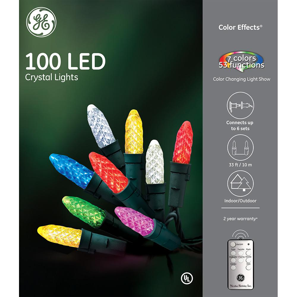 GE Color Effects RF Controlled Light Show- 100-Light 8 mm Faceted ...
