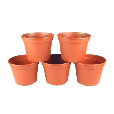 8 in. Terra Cotta Plastic Round Pot (5-Pack)