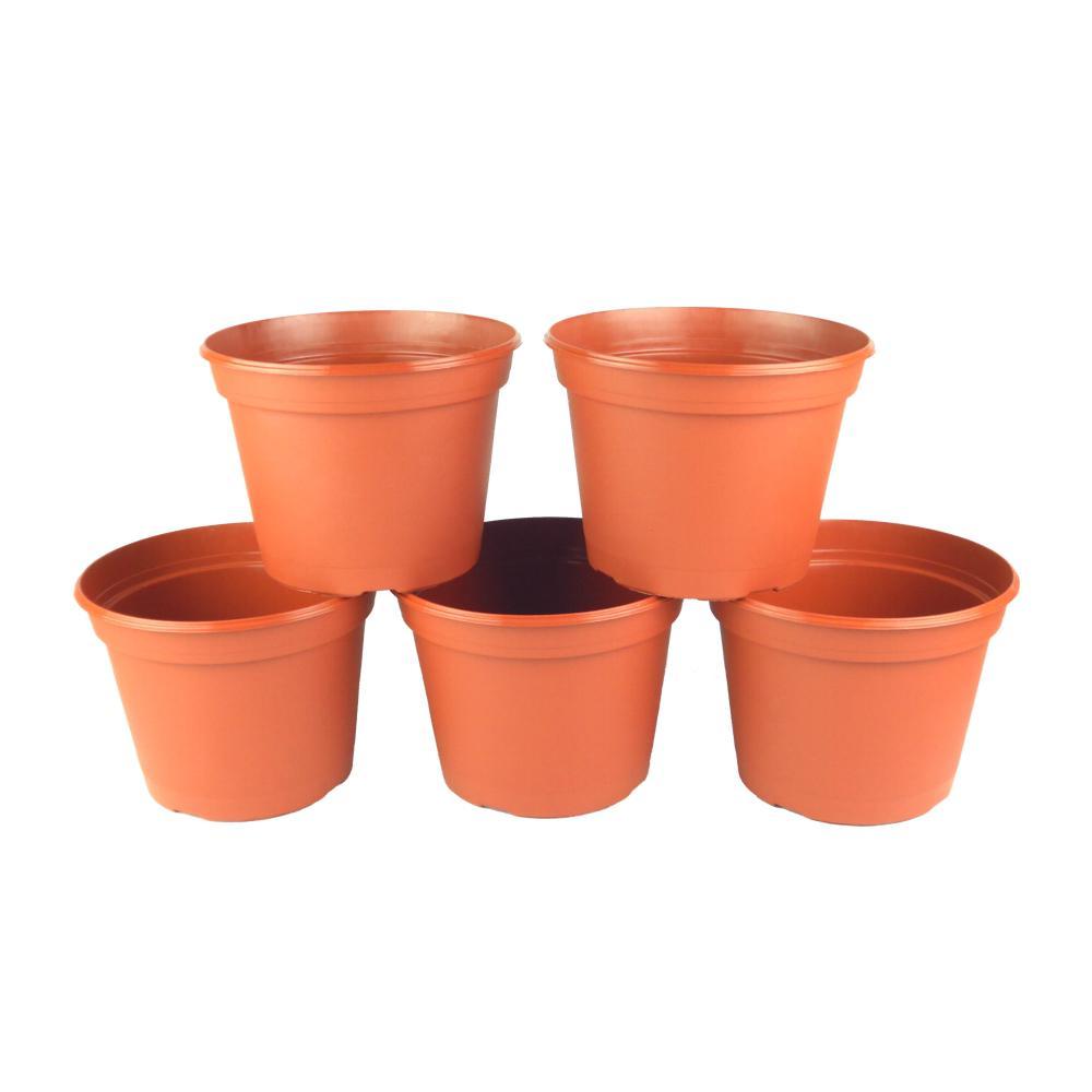 8 in. Terra Cotta Plastic Round Pot (5-Pack)