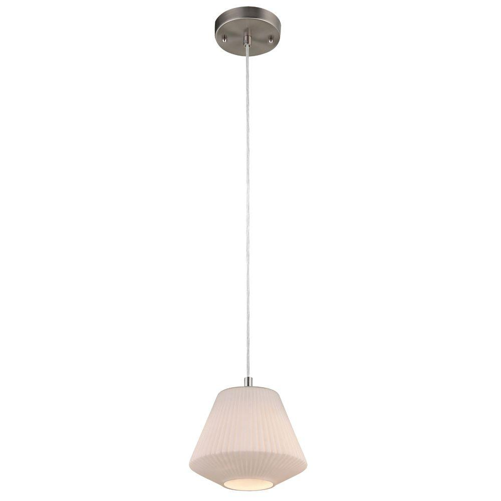 1-Light Brushed Nickel Adjustable Mini Pendant with Hand-Blown White Glass Shade
