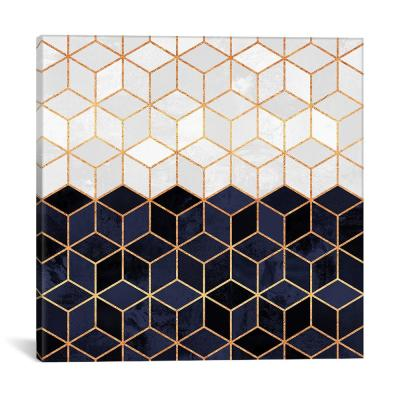 """""""White And Navy Cubes"""" by Elisabeth Fredriksson Canvas Wall Art"""