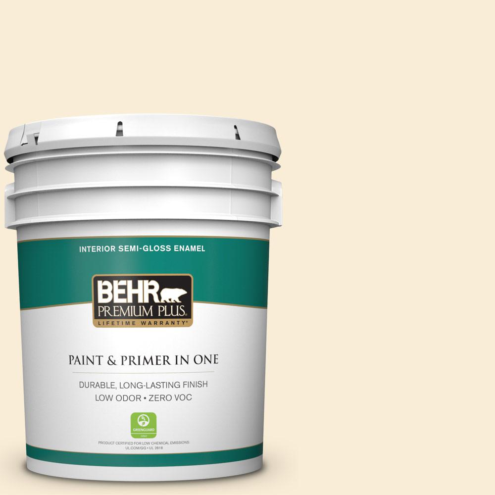 BEHR Premium Plus 5 gal. #ICC-90 Butter Yellow Semi-Gloss Enamel Zero VOC Interior Paint and Primer in One
