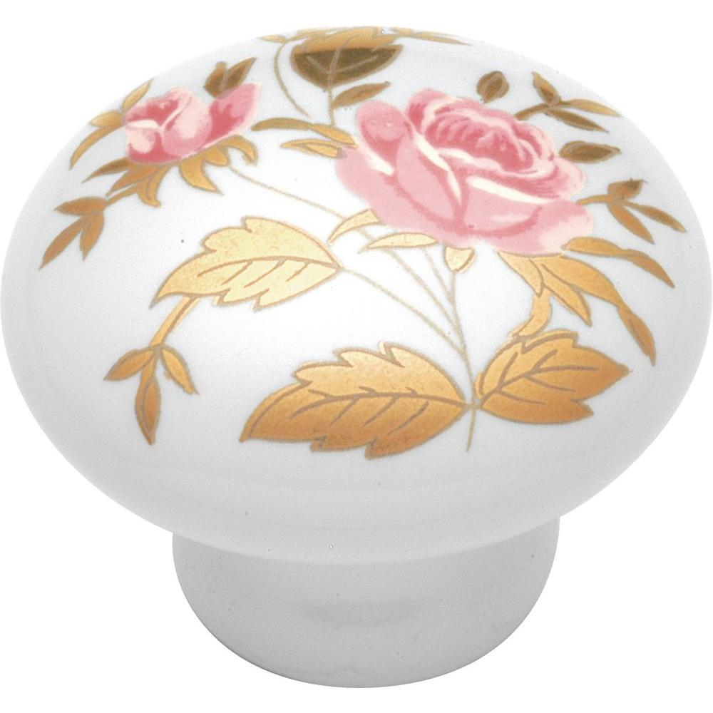 English Cozy 1-1/2 in. White/Gold Rose Cabinet Knob