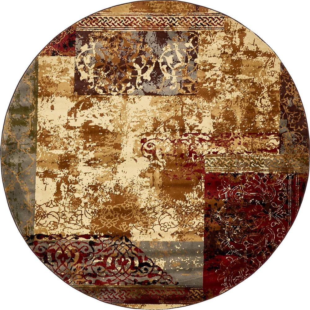Coffee Shop Beige 8 Ft. X 8 Ft. Round Area Rug