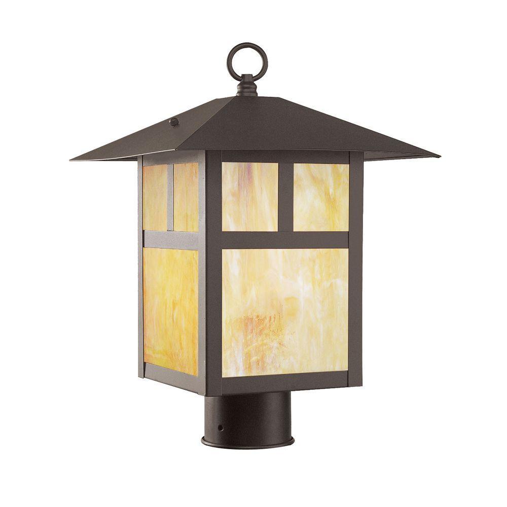 Livex Lighting Providence 1-Light 15 in. Outdoor Bronze Finish Iridescent Tiffany Glass Post Head