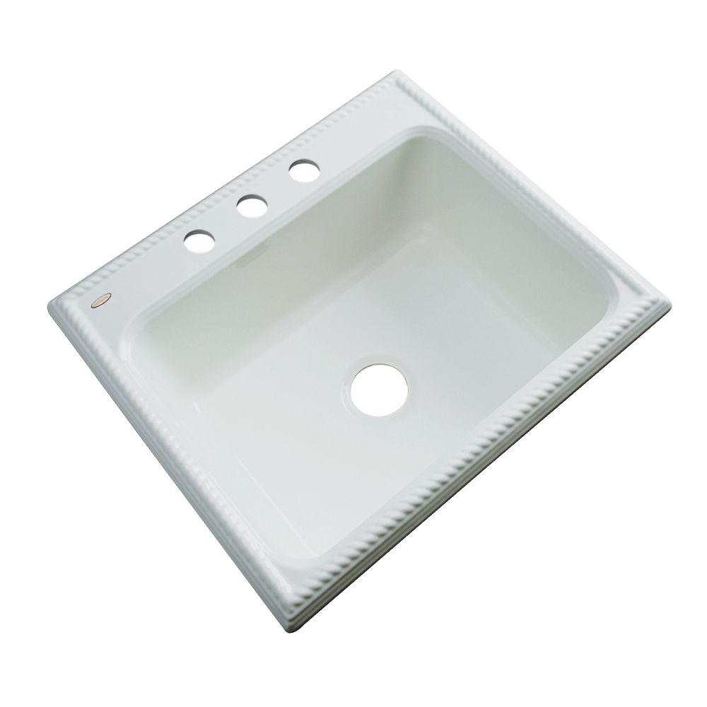 Thermocast Wentworth Drop-In Acrylic 25 in. 3-Hole Single Bowl Kitchen Sink in Ice Grey