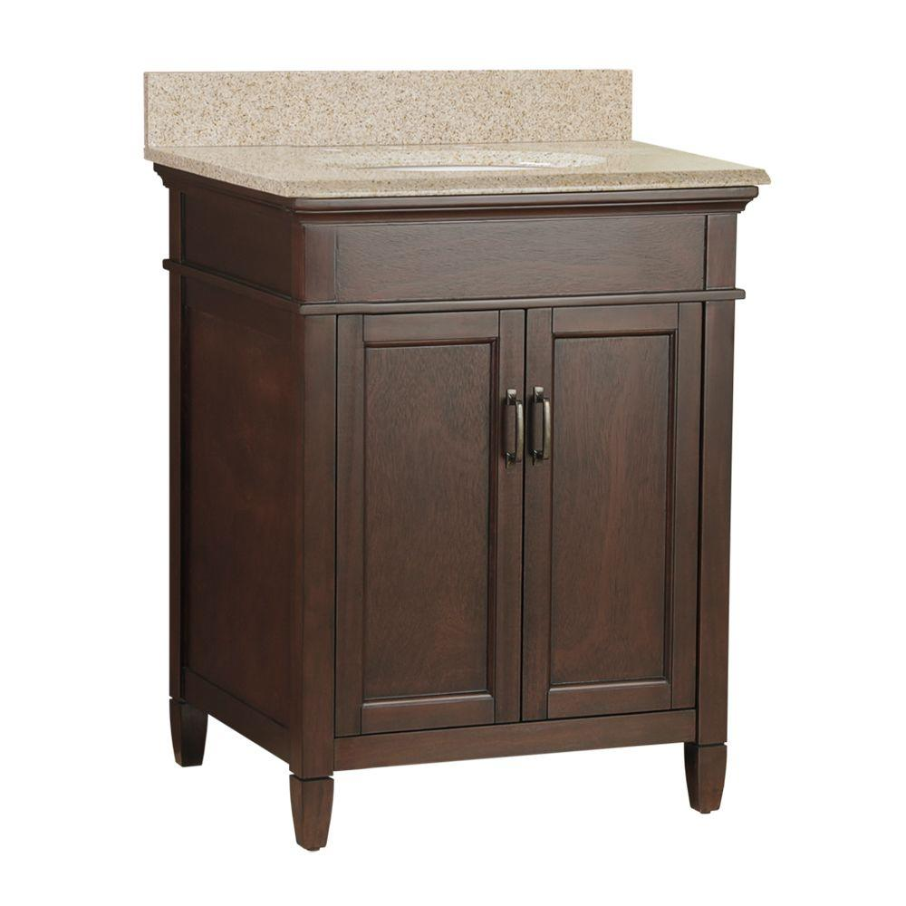 Home Decorators Collection Hover Image to Zoom Ashburn 25 in. W x 22 in. D Bath Vanity in Mahogany with Granite Vanity Top in Beige was $599.0 now $419.3 (30.0% off)