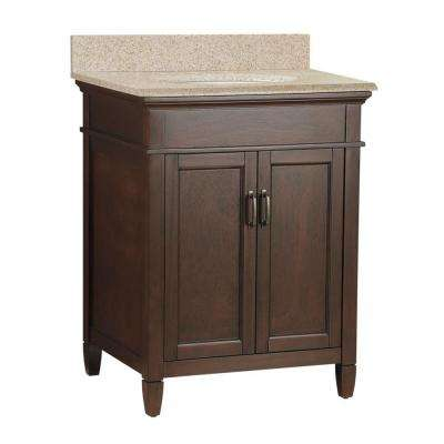 Ashburn 25 in. W x 22 in. D Bath Vanity in Mahogany with Granite Vanity Top in Beige (4-piece)