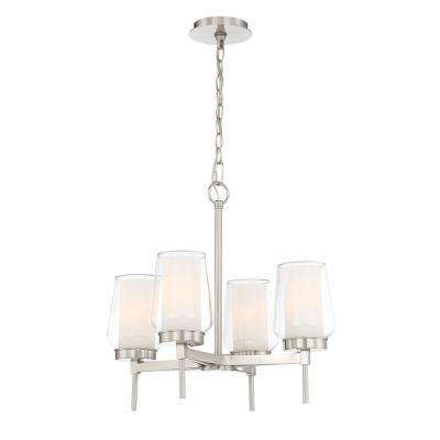 4-Light Brushed Nickel Chandelier with Clear and White Glass Shades