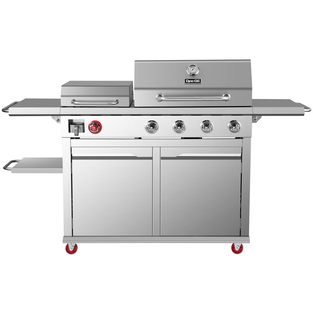 Dyna Glo 4-Burner Propane Gas Grill in Stainless Steel with Griddle