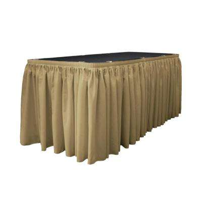17 ft. x 29 in. Long Taupe Polyester Poplin Table Skirt with 10 L-Clips