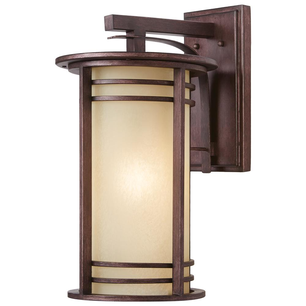 1 Light Bronze Outdoor Wall Lantern With Amber Glass