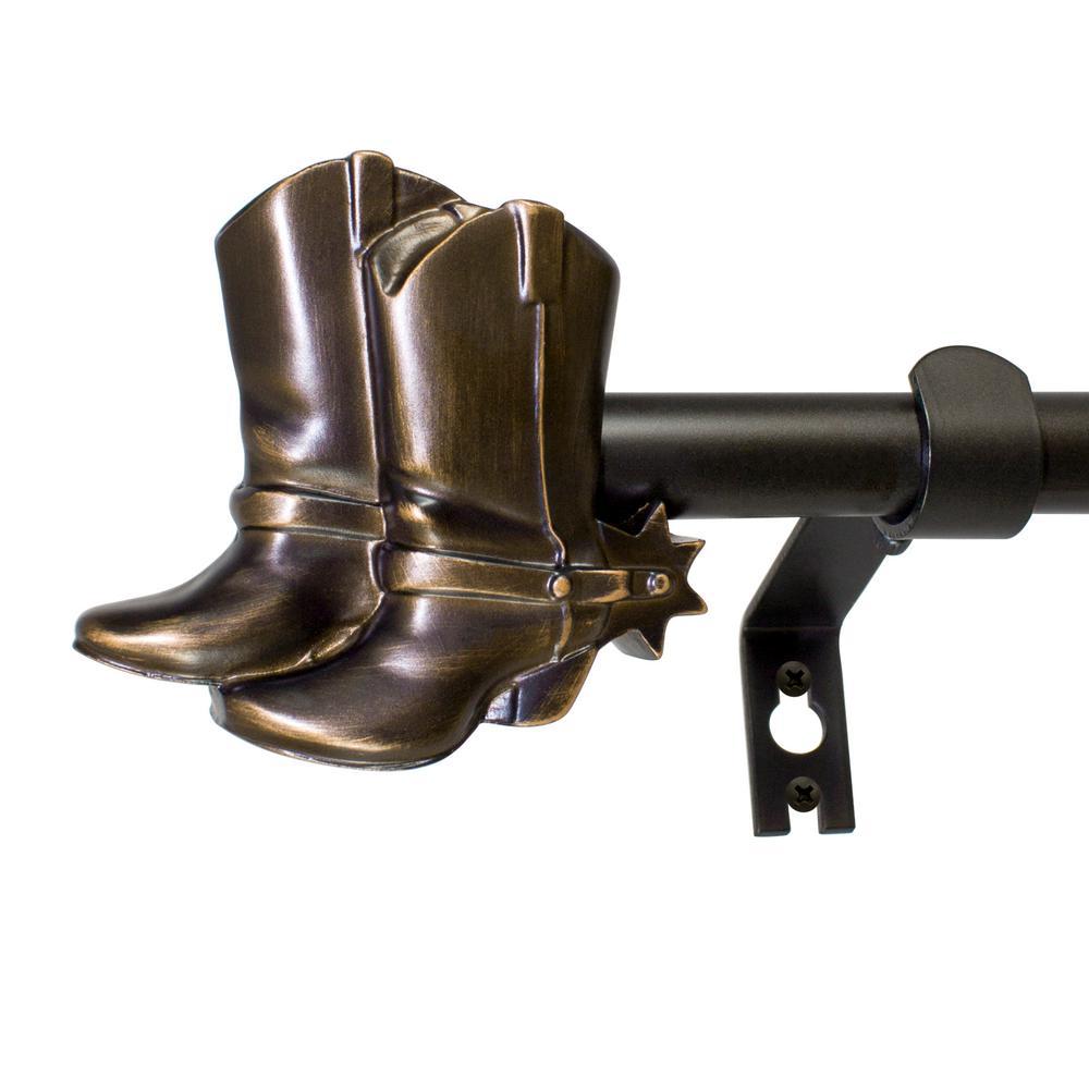 5/8 in. Cowboy Boots Telescoping Drapery Rod Set 26 in. - 48 in., Vintage Bronze