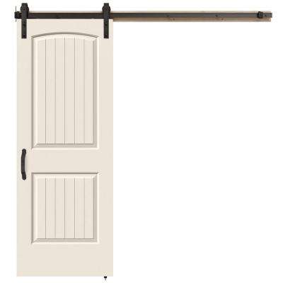 30 in. x 84 in. Santa Fe Primed Smooth Molded Composite MDF Barn Door with Rustic Hardware Kit