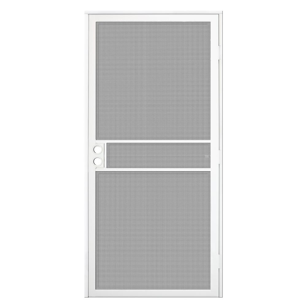 Unique home designs 36 in x 80 in white surface mount - Unique home designs security screen doors ...