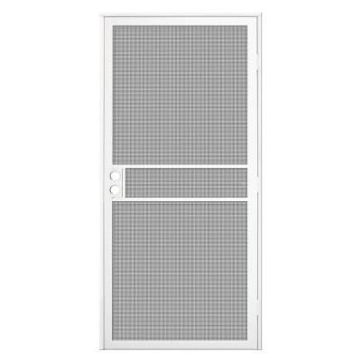 36 in. x 80 in. White Surface Mount ClearGuard Security Door with Meshtec Screen