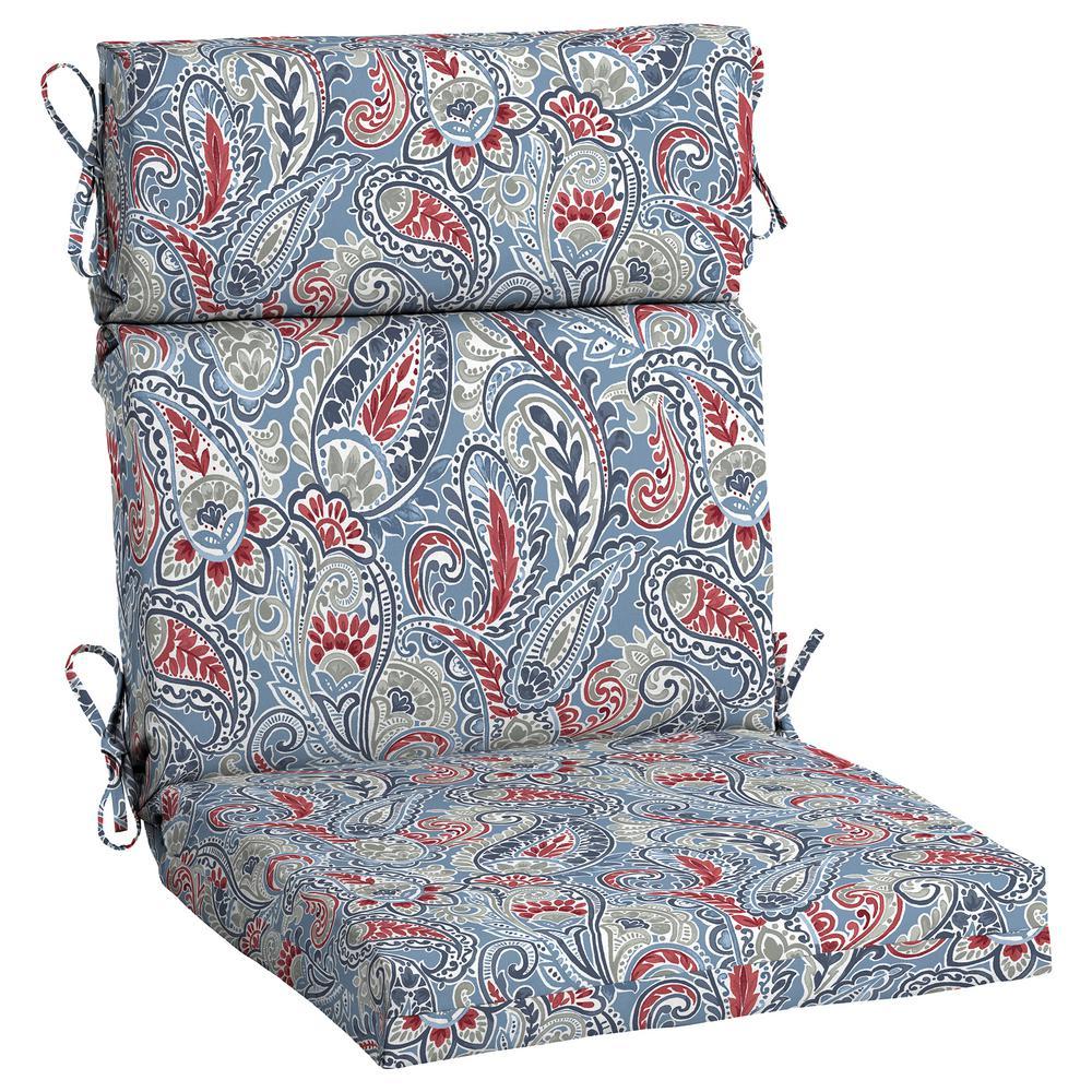 Denim Paisley Outdoor High Back Dining Chair Cushion